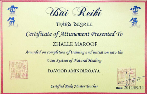 certificate of attunement presented to zhalle